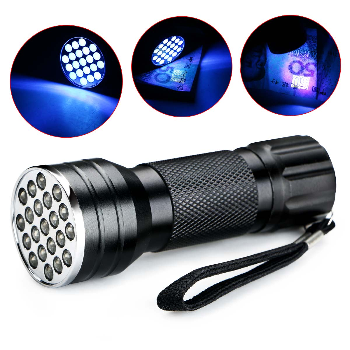 Powerful LED Flashlight UV Ultra Violet 21 LED 395nm Flashlight Mini Blacklight Aluminum AAA Torch Lamp