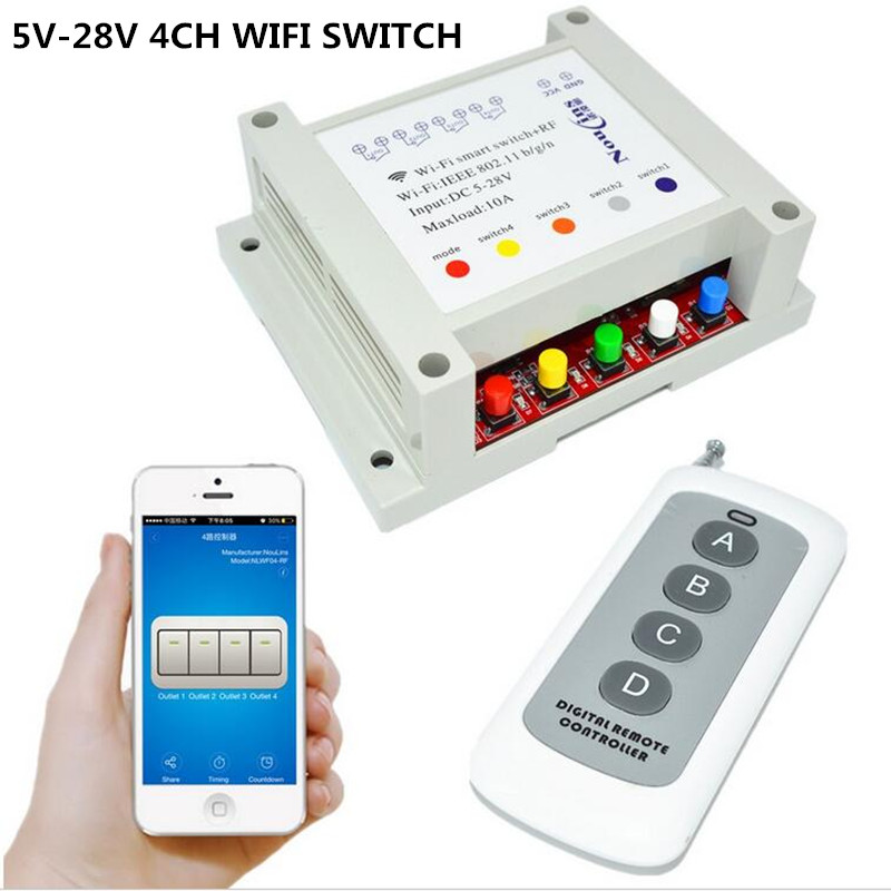 5V 7V 9V 12V 24V 28V DC 4CH WIFI Switch Remote Control Relay Timer interruptor, RF 433mhz Wireless Switches by phone 2017 new 1ch dc 7v 9v 12v 24v wifi switch smart home module momentary selflock interruptor for home automation light garage door