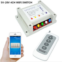 5V 7V 9V 12V 24V 28V DC 4CH WIFI Switch Remote Control Relay Timer Interruptor RF