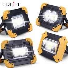 20 Вт светодиодный портативный Точечный светильник, рабочий светильник, USB Перезаряжаемый светодиодный светильник-вспышка, уличный светильник для охоты, кемпинга, 2*18650 батареи