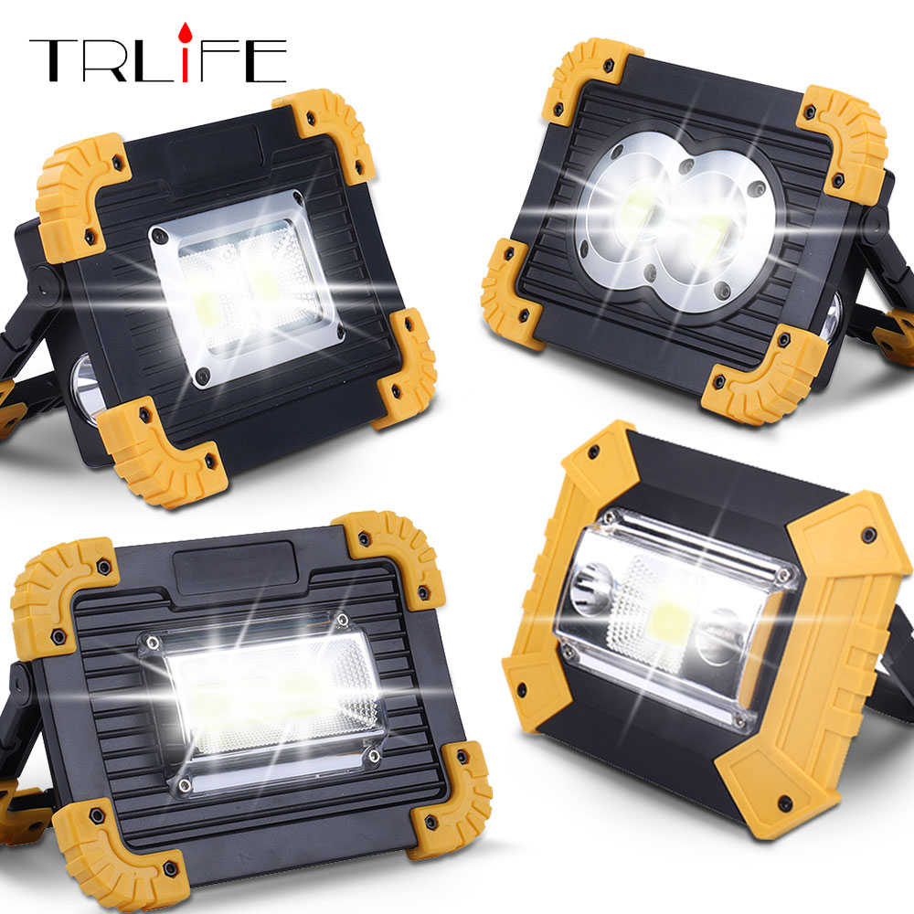 20W Led Portable Spotlight Work Light USB Rechargeable LED Flashlight Outdoor Light For Hunting Camping Use 2*18650 Battery