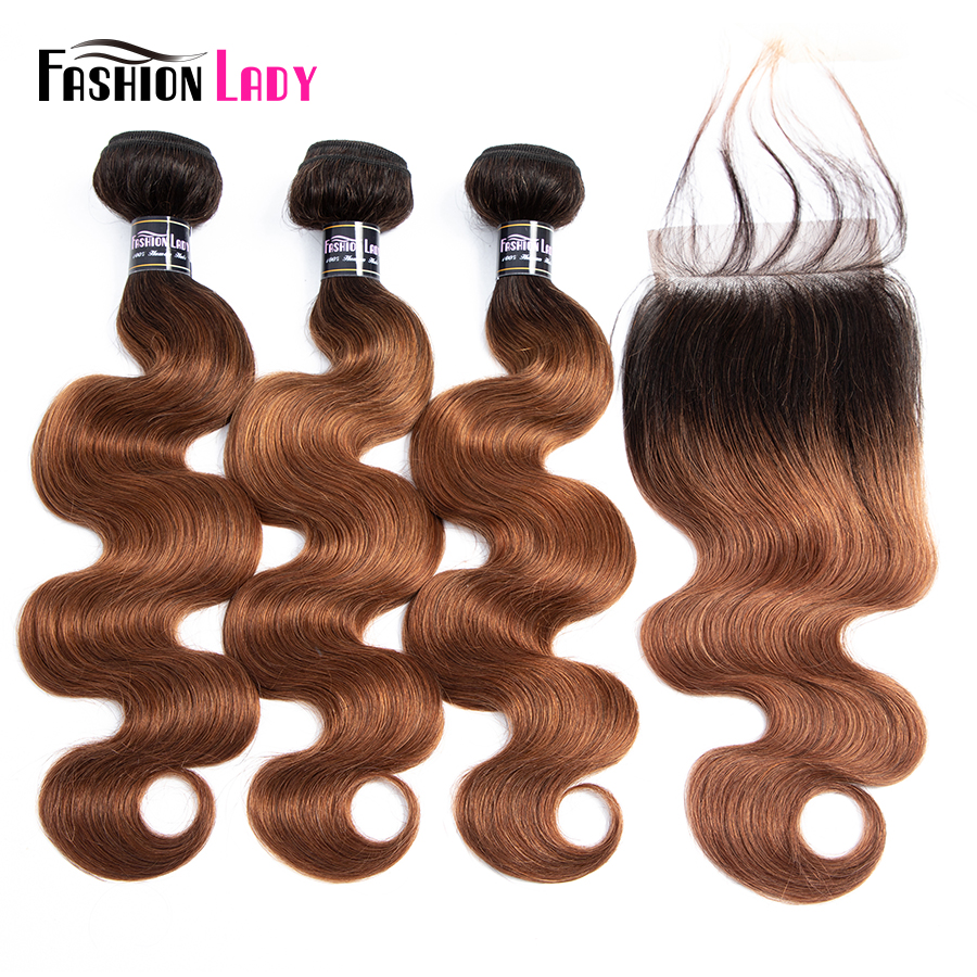 Fashion Lady Ombre Bundles With Closure Brazilian Body Wave Brown Human Hair Non-Remy 3 Bundles With Lace Closure 1B/30 No-remy