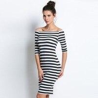 2015 Women Summer Dress Lady Sexy Half Sleeve Off Shoulder Stripe Stretch Bodycon Party Dresses Cotton