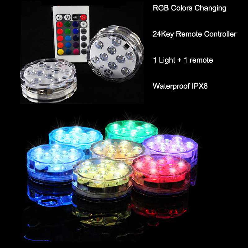 Free Shpping (12 bitar / lot) 3AAA batteridriven fjärrstyrd 10 Multi-Color LED-vaslampa, nedsänkbar ledd ljus