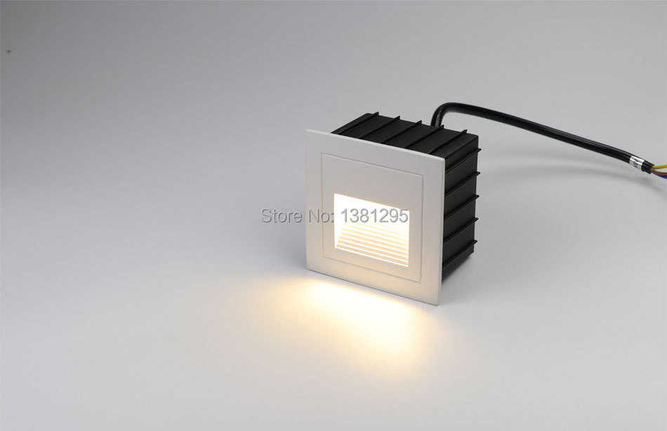 Outdoor Led Step Light Square Ip65 Waterproof Footlight Recessed Wall Stair Lamp Laminate Flooring Terrace Lighting White Black Led Underground Lamps Led Lamps