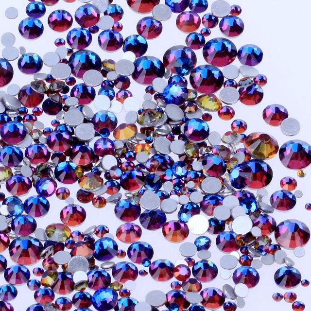 bfc31a6906 US $3.63 19% OFF Crystal Rhinestones Blue Rainbow Non Hotfix For Nails Art  Decoration SS3 SS30 Flatback Glue On Strass Stones DIY Crafts Garments-in  ...