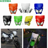 Naked Motorcycles MX Dirt Bike StreetFighter Universal 12v 35w Headlight Dual Sports Head Lamp Fairing Mask For Honda Kawasaki