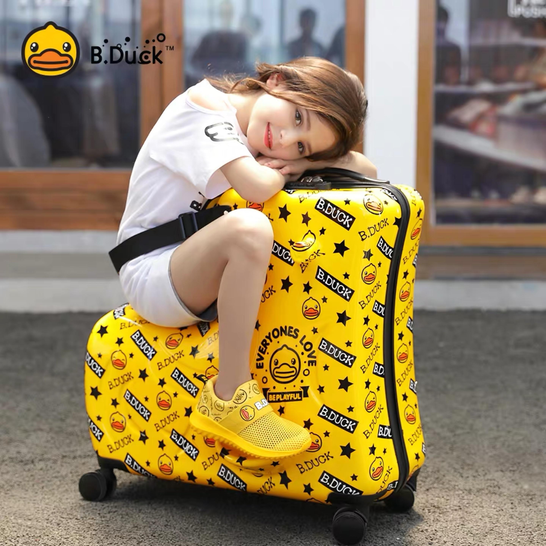 Nouveau chariot à bagages pour enfants valise sur roulettes assis et monter coffre de troie cabine de voyage bagage à main pour enfant cadeau