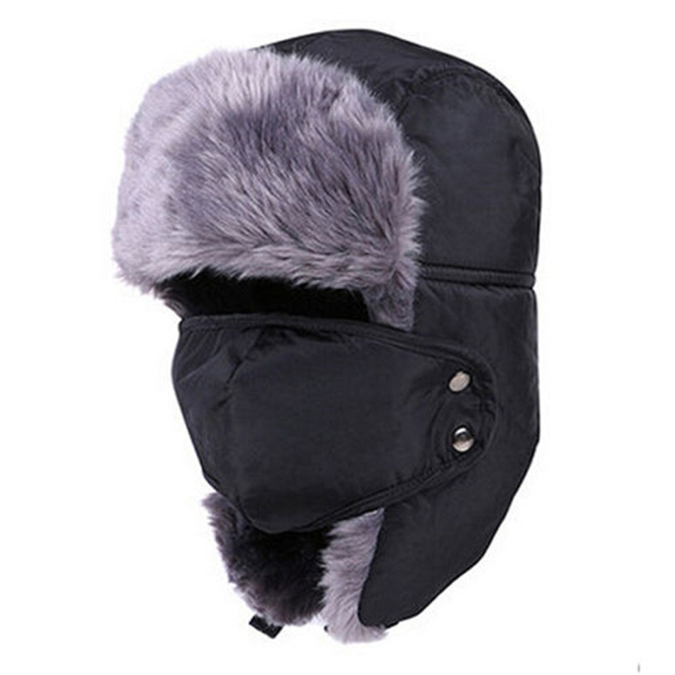 2017 New Men Women Winter Warm Hats Russian Trapper Aviator Trooper Earflap Outdoor Sport Snow Ski Hat Cap Faux Fur Mens Hat