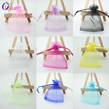 Wholesale 16 color 100pcs/lot 9*12cm organza Christmas wedding gift bags jewelry packing drawable organza bags&pouch