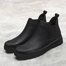 Men Chelsea Boots Genuine Leather Solid Color Slip on Man Winter Shoes Fur Lined Black Botas De Hombres Short Booties Male 38-44 suede winter booties thick soled high quality platform boots chelsea faux fur sole top men slip on casual shoes genuine leather
