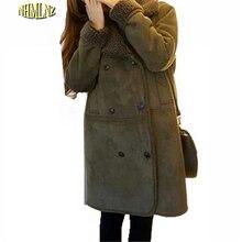 Хан издание Зима Толстые Теплые Женщины Хлопок Куртка Повседневная Slim большой Размер Женщин Пальто Средней Длины Чистый цвет Военный Пальто OK130