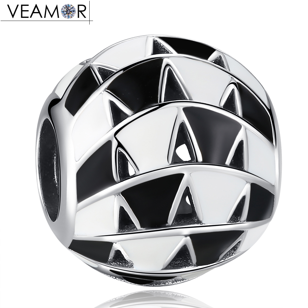 VEAMOR Authentic 925 Sterling Silver White & Black Enamel Ball Charm Beads Fit Pandora Charms Bracelets DIY Jewelry Making