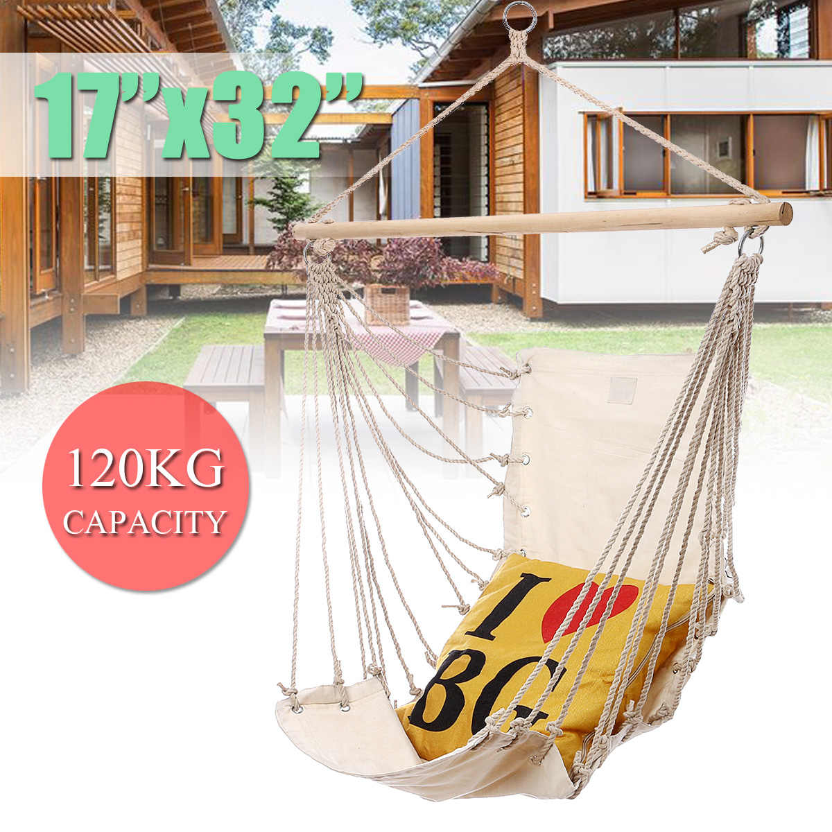 Swinging Chair Outdoor Canvas Nordic Style Hammock Chair Outdoor Indoor Garden Dormitory Bedroom Swinging Hanging Chair For Adult Single Safety Chair