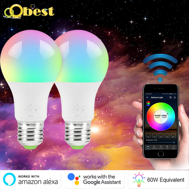 WiFi inteligente bombilla de luz E27 LED lámpara regulable Multicolor despertar luces No Hub requiere Compatible con Alexa y asistente de Google