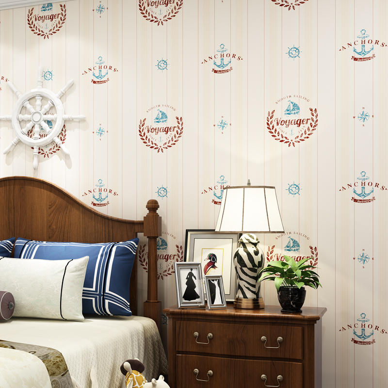Mediterranean Style Vertical Strip Voyage Wallpaper for Baby Boy's Room Non Woven Kids Bedroom Wall Paper for Walls Wallcovering multicolor children room wall paper roll non woven vertical strip wallpapers for baby boy girls bedroom wall mural pink blue