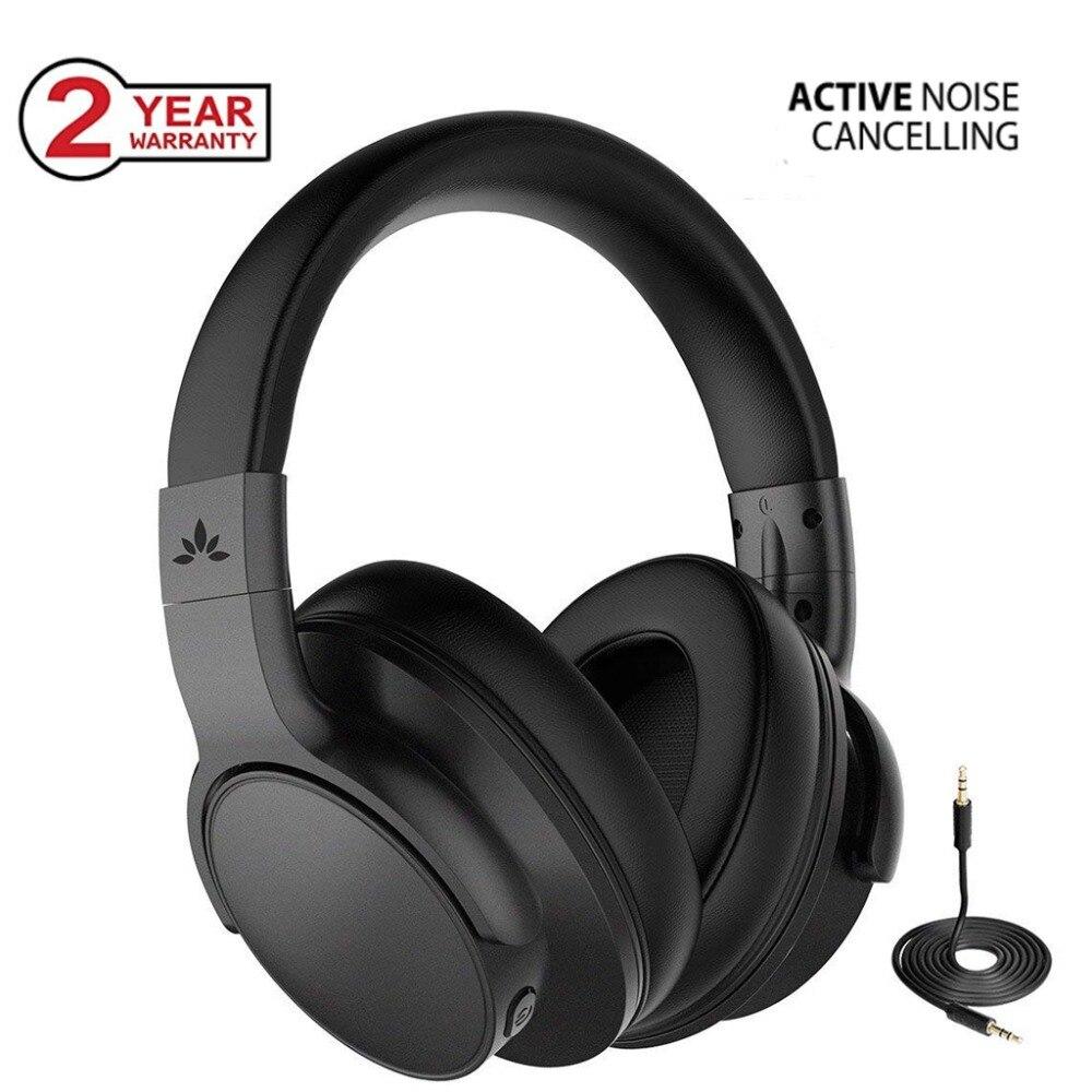 Avantree Bluetooth 4.1 fone de ouvido Com Cancelamento de Ruído Ativo Fones De Ouvido com Microfone, Wireless/Wired ANC Fones De Ouvido Estéreo Dobrável
