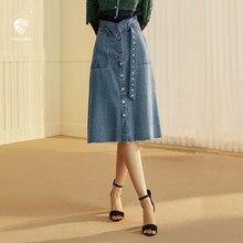 FANSILANEN nueva llegada moda Otoño primavera Casual mujeres Vintage faldas  Denim faldas hasta la rodilla de una línea sólida Z8. 895940ed6c46