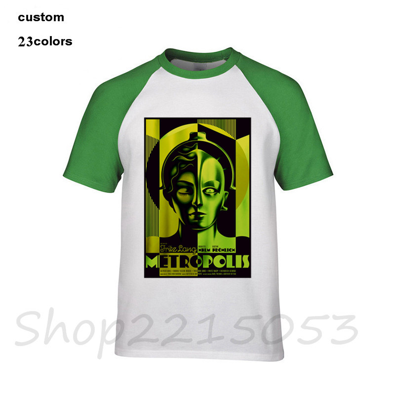2019 Neuestes Design 2018 Lustige Metropole Fritz Lang 1927 Kult Klassische Sci Fi Film Green Science Fiction Männer T-shirt Baumwolle T-shirt Männliche T Shirts