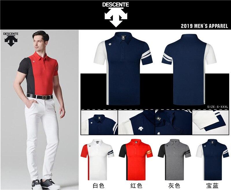 2c2789d6 2019 Men Sportswear Short sleeve DESCENTE Golf T-shirt 4colors Golf clothes  S-XXL in choice Leisure Golf shirt Free shipping ~ Top Deal June 2019