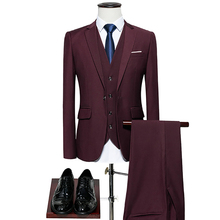 Men's suit 3 piece set wedding business official / groom groomsmen banquet solid color classic blazer (coat vest pants) suits