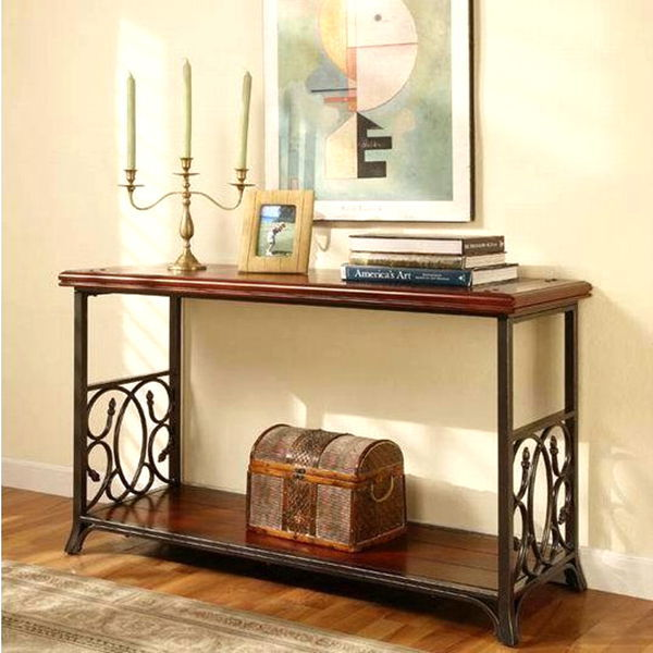American Country Furniture , Wrought Iron Console Table Solid Wood Entrance  Door Entrance Hall Cabinet Shelving
