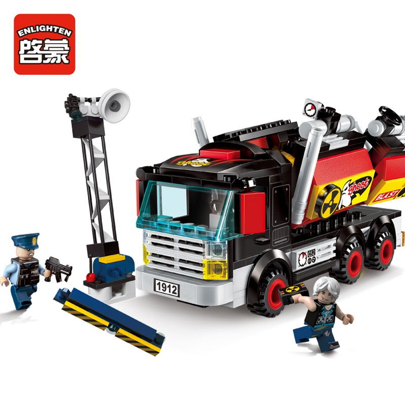 Enlighten City Police Demolition Trucks 2 Figures 292pcs Building Blocks MOC Educational Bricks font b Toys
