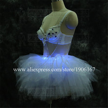 Led Luminous Evening Party Ballet Dress Sexy Women Stage Costumes Light Up Performance Clothes For Club Party Bar Halloween