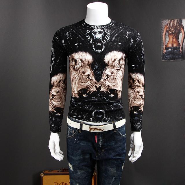 Camisola dos homens projeto do leão personalizado impressão Homens camisola de outono
