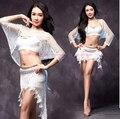 Новый стиль костюмы belly dance старший mesh половина рукава топ + юбка 2 шт. для женщин танец живота устанавливает 5 виды цветов