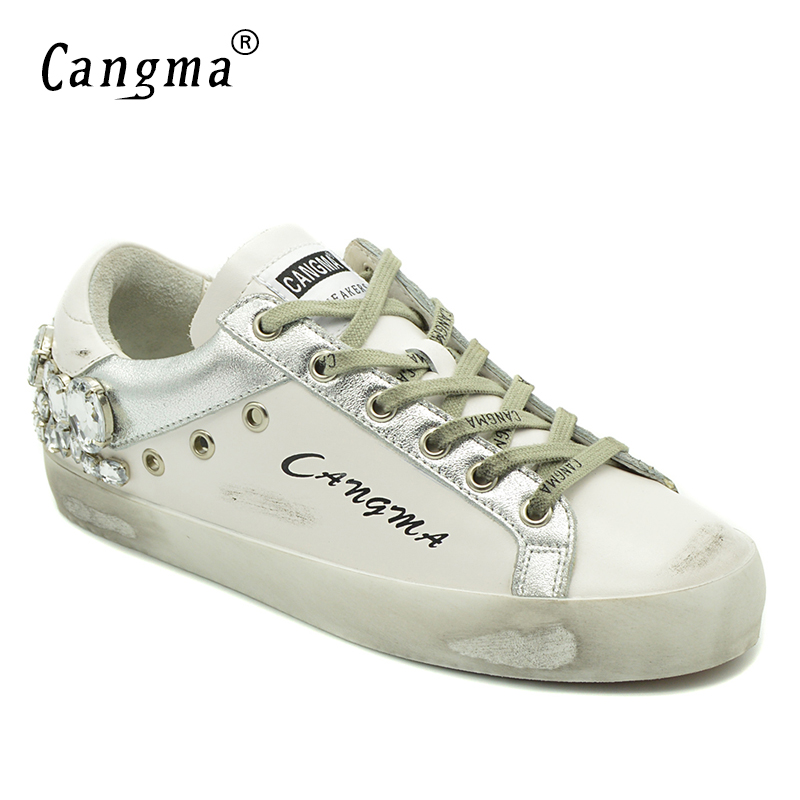 CANGMA Luxury Casual Shoes Brand Sneakers Women Silver Diamond White Flats Genuine Leather Shoes Crystal Female Stylish Trainers cangma superstar italian luxury brand shoes for woman genuine leather women casual orange silver classic shoes schoenen vrouwen
