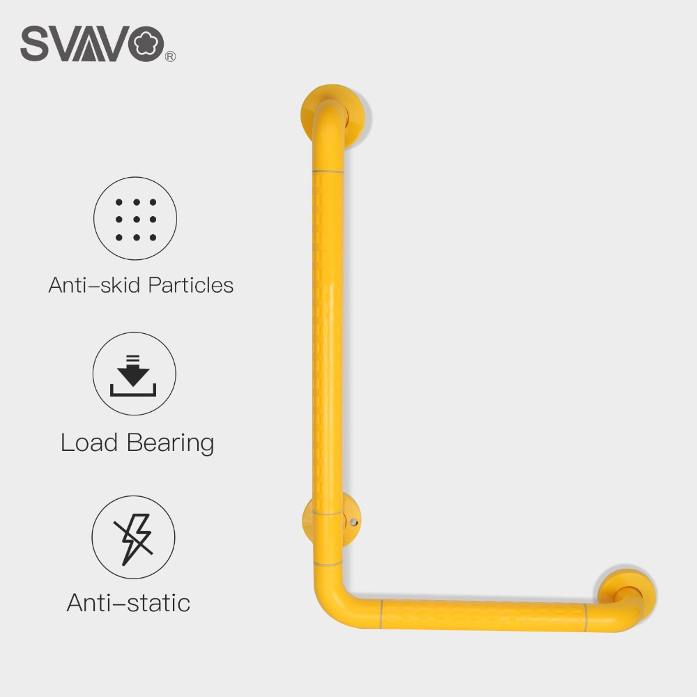 SVAVO Wall Mounted Safety Grab Bars Plastic Stainless Steel Toilet L Shape Safety Bar Bathroom Shower Grab Bars