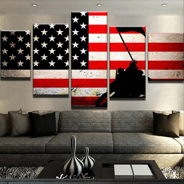 HD Printed Modern Canvas Living Room Pictures Painting 5 Panel American Flag  Soldier Frame Wall Art