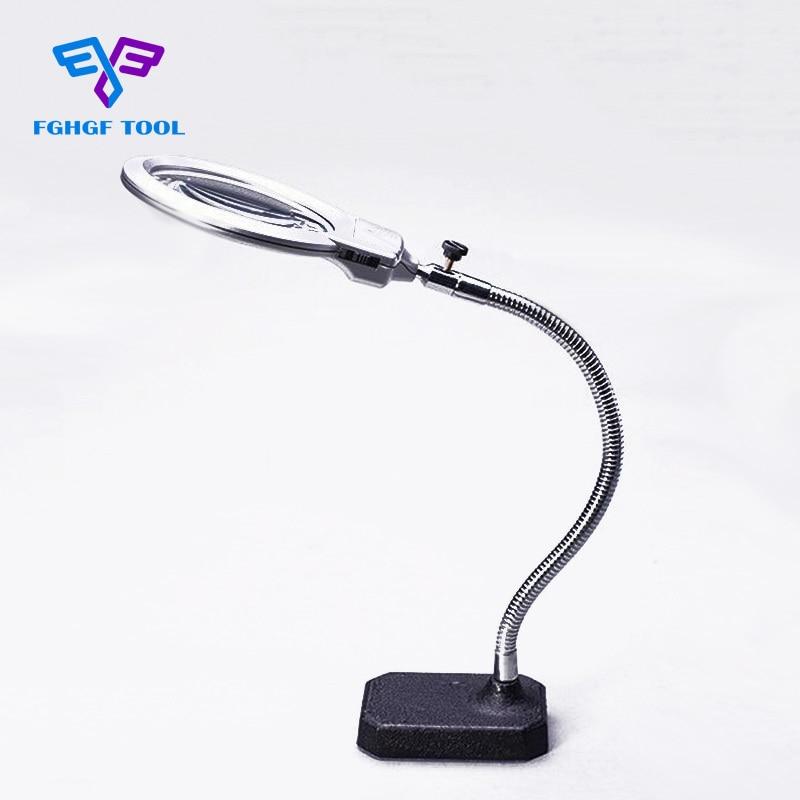 FGHGF 2.5x 5x 107mm Clip-on Table Velká lupa LED lampa osvětlená lupa s LED světlem pro čočky