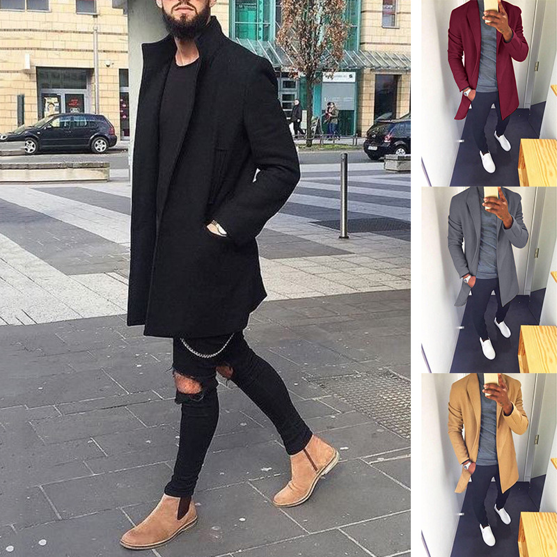 Trench   Coat Men Spring Fashion Casual Long Windbreaker Slim   Trench   Coat Plus Size Men 2018 Cardigan Jacket Outerwear Overcoat