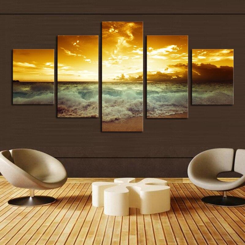 Okvir 5 plošče čudovita morska pokrajina platno tisk slikarstvo - Dekor za dom - Fotografija 2
