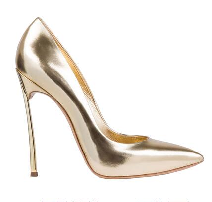 hot selling gold metallic leather high heel shoes sexy pointed toe ...