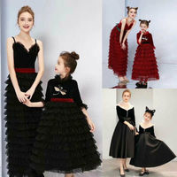 Mother Daughter Lace Long Dresses Mom Girl Match Twinning Dress Family Outfits