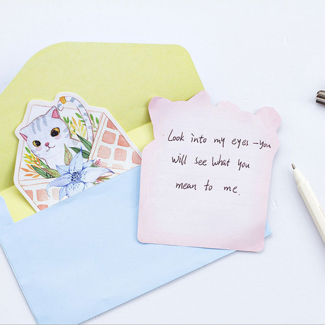 pcs lot cute cat writing paper envelopes letterhead office  4pcs lot cute cat writing paper envelopes letterhead office stationery writing paper stationery kawaii birthday