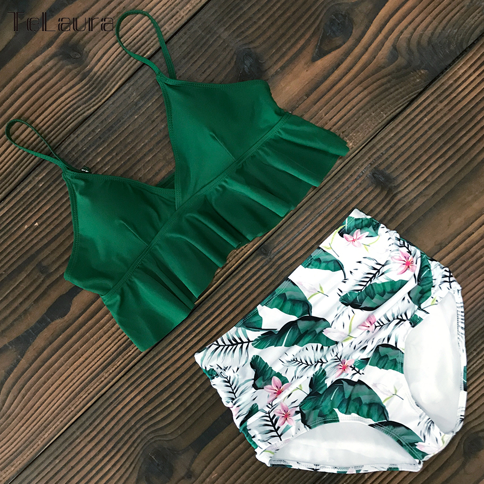 HTB1MeZLVCzqK1RjSZFpq6ykSXXaO 2019 New Sexy High Waist Bikini Swimwear Women Swimsuit Push Up Ruffle Bathing Suit Biquini Plus Size Swimwear Female Beach Wear