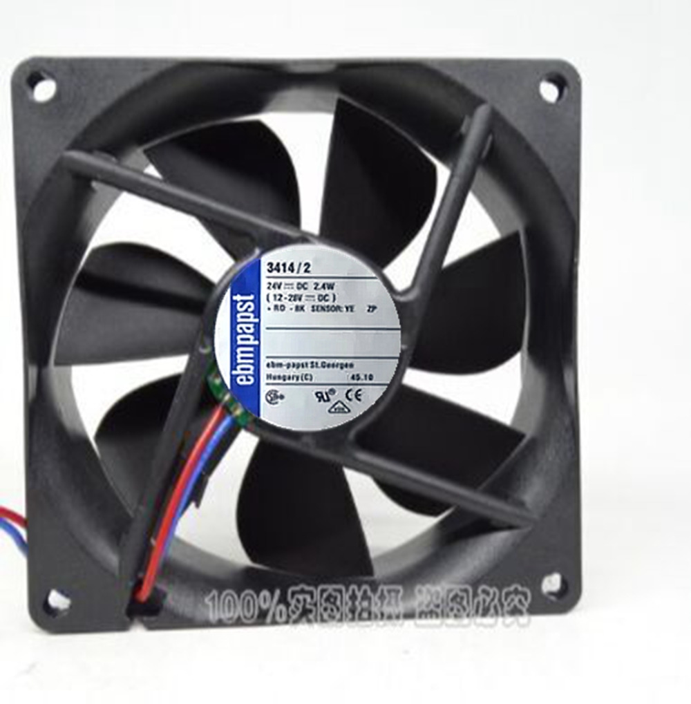 Original PAPST TYP 3414/2 DC24V 2.4W 9025 90 * 90 * 25mm three-wire inverter fan new original bp31 00052a b6025l12d1 three wire projector fan