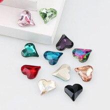 5Pcs 12x13 мм кривые «любящее сердце» остроконечные с украшением в виде кристаллов на камне Стекло камни для DIY свадебное платье ювелирные камни бусины