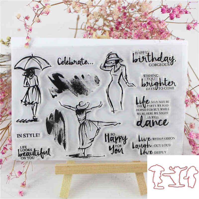 Dancing Girl Animal  Metal Cutting dies and Clear Stamp Set for DIY Scrapbooking Photo Album Decoretive Embossing Stencial