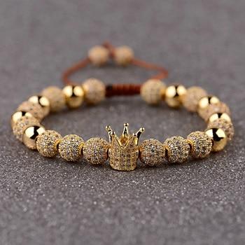 DOUVEI Classic Men Bracelet Jewelry Crown Charms Luxury Macrame Beads Bracelets For Women Pulseira Masculina Feminina Gifts