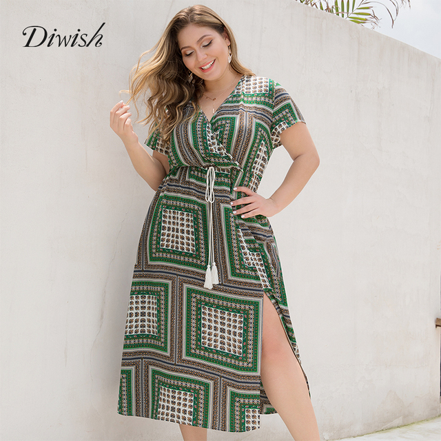 Diwish Women Long Summer Dress Sexy Green Plaid Dress Short Sleeve Beach V Neck Dress Plus Size Maxi Dresses XL-4XL