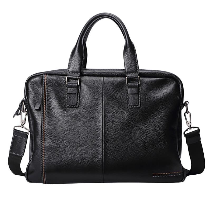 New Leather Men'S Briefcase Fashion Large Capacity Business Bag Black Male Shoulder Laptop Bag