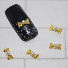 BELESHINY 10 Pcs/Lot Manicure Gold Alloy Rhinestones Rudder For Nails Strass Charms 3D Nail Art Decorations