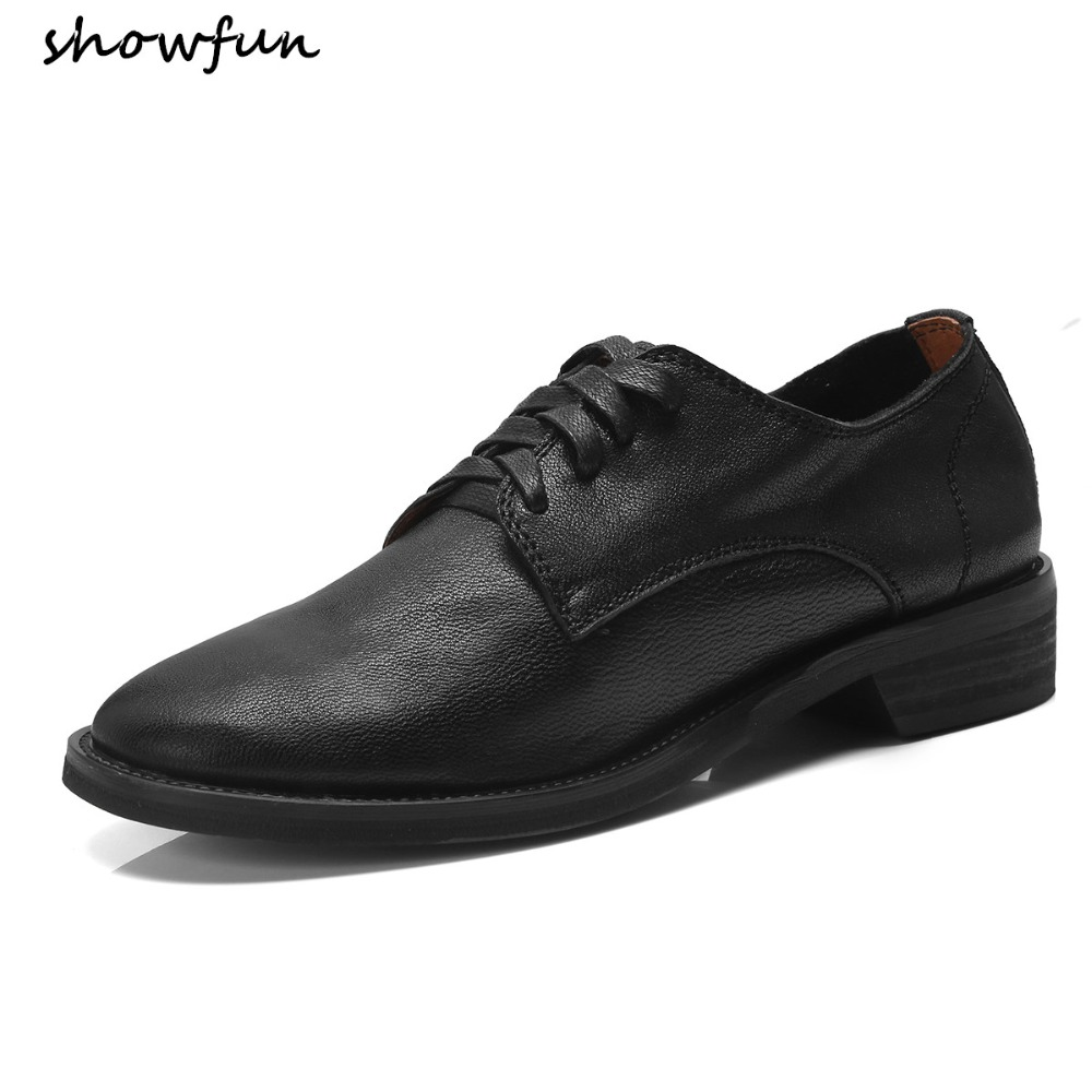 Women's oxfords genuine leather lace-up flats loafers leisure comfortable espadrilles autumn brogues shoes for women ballerians