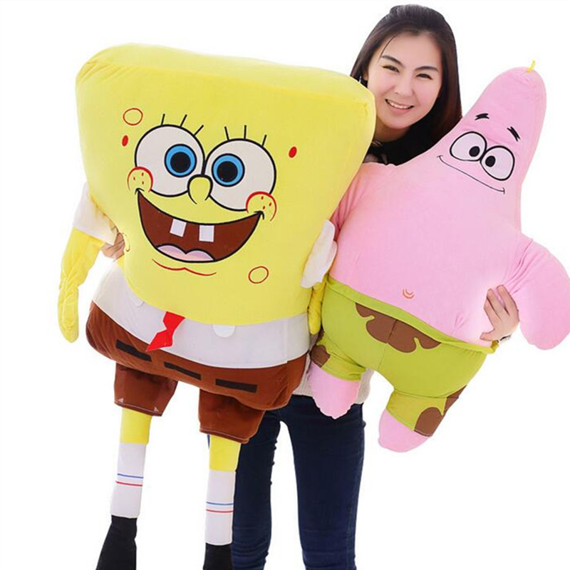 Big 100cm Sponge Bob Stuffed Cartoon Figure Spongebob Patrick Plush Toy Soft Anime Doll For Kids Gift Toys Sofa Pillow Cushion 16cm little big planet plush toy sackboy cuddly knitted stuffed doll figure toys kids gift