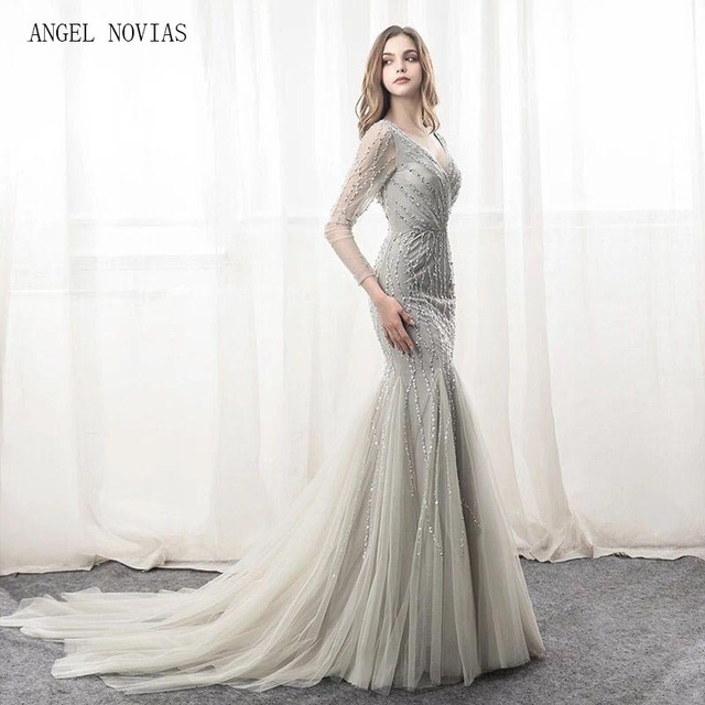2018 Abendkleider Long Sleeve Mermaid Silver Evening Dresses V Neckline  Crystal Party Gowns Tulle Beads Evening Formal Gowns 03dd2f19c2cb
